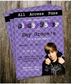 5x7 Justin Bieber Birthday Party invitations Printable Digital DIY