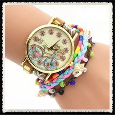 Personality Bike Print Woven Bracelet Watch