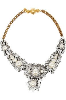 Shourouk Apolonia gold-plated, Swarovski crystal and pearl necklace | NET-A-PORTER