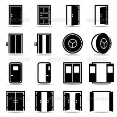 Open and Closed Doors Icons - Web Icons