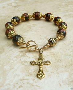 Genuine Goldstone Antique Gold Rosary Prayer Bracelet #ISLANDGIRLJEWELRYDESIGN
