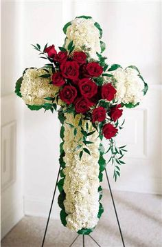 White carnations and red roses are designed into this religious floral display. Appropriate to send to the funeral home. Arrangement is delivered with an easel for display. Deco Floral, Arte Floral, Funeral Flowers, Wedding Flowers, Wreaths For Funerals, Funeral Caskets, Funeral Floral Arrangements, Funeral Sprays, Corona Floral
