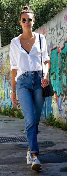 26 Best Casual Outfit with Boyfriend Jeans Boyfriend Look, Boyfriend Jeans Outfit, Outfit Jeans, Mom Jeans Outfit Summer, Leila Yavari, Look Jean, Casual Mode, Best Casual Outfits, Casual Jean Outfits