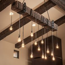 I CAN MAKE THIS.  Edison bulbs hangin from wood. This will be in dining room above my long ass table