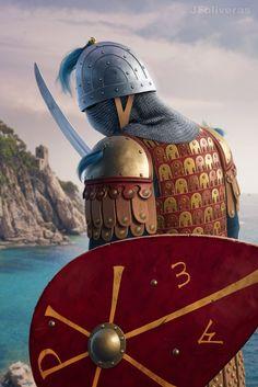 Byzantine tagmata by Joan Francesc Oliveras Pallerols Medieval World, Medieval Armor, Medieval Fantasy, Armadura Medieval, Samurai, Ancient Rome, Ancient History, Byzantine Army, Eslava