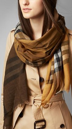 Check Ombre Wool Silk Scarf-Brit Ochre Yellow Check | Burberry