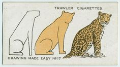 How to Draw Animals (3 easy steps to a leopard). Trawler Cigarettes card no. 17