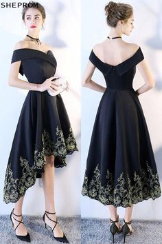 2018 Black Off Shoulder Prom Homecoming Dress High Low at GemGrace. - 2018 Black Off Shoulder Prom Homecoming Dress High Low at GemGrace. Trendy Dresses, Cheap Dresses, Sexy Dresses, Cute Dresses, Beautiful Dresses, Short Dresses, Fashion Dresses, A Line Dresses, 70s Fashion