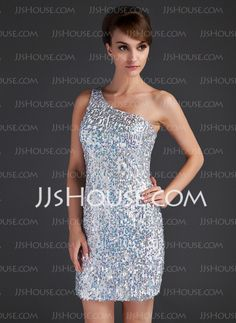 Cocktail Dresses - $126.89 - Sheath One-Shoulder Short/Mini Satin Cocktail Dress With Beading Sequins (016015666) http://jjshouse.com/Sheath-One-Shoulder-Short-Mini-Satin-Cocktail-Dress-With-Beading-Sequins-016015666-g15666