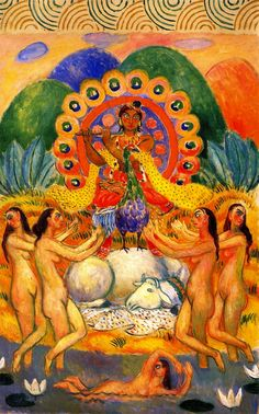 Buddha and the Maidens | William James Glackens | oil painting  #religious art