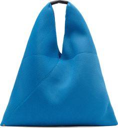 MM6 Maison Martin Margiela: Blue Mesh Cross Shopper Tote | SSENSE