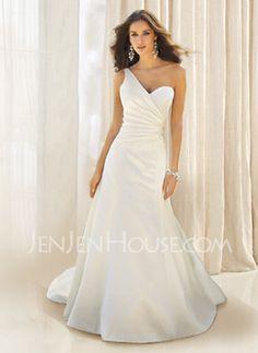 Wedding Dresses - $148.99 - Gorgeous A-Line/Princess One-Shoulder Chapel Train Satin Wedding Dress with Ruffle  Beadwork (002001181) http://jenjenhouse.com/pinterest-g1181