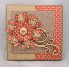 pretty card in muted orange and tans...lovely layered flower focal point...