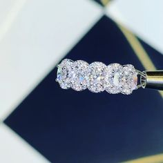 Five Stone Oval Diamond Halo Anniversary Ring - schmuck - Engagement Ring Rose Gold, Popular Engagement Rings, Dream Engagement Rings, Diamond Wedding Rings, Engagement Ring Settings, Diamond Rings, Diamond Jewelry, Jewelry Rings, Fine Jewelry
