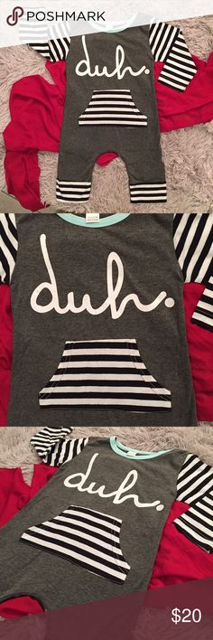Boutique Baby Unisex DUH Funny Romper Gray Very fashion forward baby romper with Duh written across the top and a large striped front pocket and long sleeves. Pastel green trim and snap bottom closure. Baggy fit thru diaper area and tapers to legs. One Pieces Bodysuits