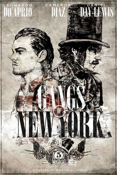 "Gangs of New York. Awesome period piece that takes place in 1893. It definitely earned the ""R"" rating! It stars Daniel Day Lewis, Cameron Diaz and Leonardo Dicaprio."