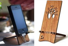 This beautiful cherry wood stand holds your phone while it charges. The stand is at the perfect angle for you to use your phone while it sits on your desk. Designed for the iPhone 4, however it does work for a variety of cell phones.