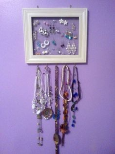 Jewelery Holder - Cheap Frame, Cup Hooks, and Screen  maybe for lily???