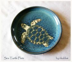 Sea Turtle Pottery Plate by rikablue on Etsy, $39.50