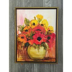 Poppy Painting, Floral Painting, Original Painting, Yellow Orange Red,... ($24) ❤ liked on Polyvore featuring home, home decor and wall art