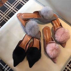 Cheap Slippers, Buy Directly from China Famous design woman fur flipflops pompom fur balls slides pointed toe mules low heels silk riband fur slippers feather shoe Pink Mules, Off The Shoulder Tunic, Bow Shoes, Low Heels, Pink Grey, Wedding Shoes, Loafer Flats, Things To Sell, Design