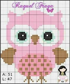Cross Stitch Owl, Cross Stitch Charts, Cross Stitching, Cross Stitch Embroidery, Embroidery Patterns, Cross Stitch Patterns, Pixel Crochet Blanket, Crochet Cross, Free Crochet