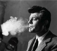 Arturo Zavattini :: Marcello Mastroianni at the set of La dolce vita, directed by Federico Fellini, 1960