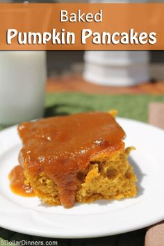 Baked Pumpkin Pancakes with Homemade Pumpkin Syrup - $5 Dinners | Recipes, Meal Plans, Coupons Breakfast Pancakes, Pancakes And Waffles, Breakfast For Dinner, Breakfast Dishes, Breakfast Recipes, Brunch Dishes, Breakfast Ideas, Pumpkin Pancakes, Baked Pumpkin