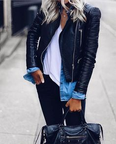 Black Leather jacket - biker style