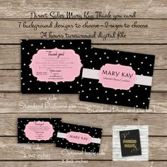 Thank You Card   Digital File   Direct Sales Business Marketing  Mary Kay  Inspired Thank