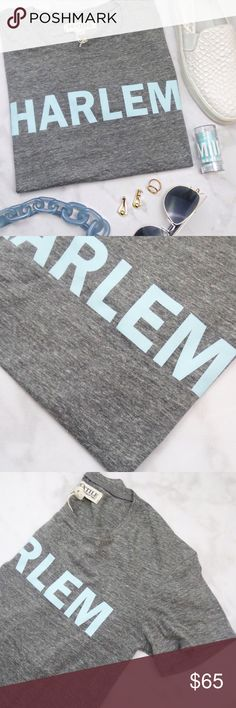 Elizabeth and James Harlem Tee Size S gray short sleeve tee with light blue lettering. NWT, measurements to come. 08241604 Elizabeth and James Tops Tees - Short Sleeve