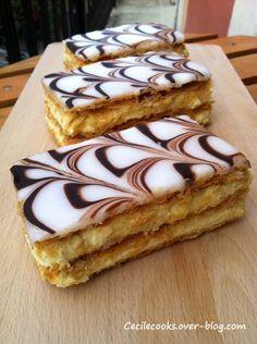 Millefeuille traditionnel : fondant marbré et crème mousseline à la vanille