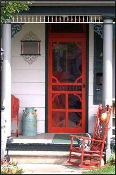 wooden screen door, milk can and a chair spells comfort