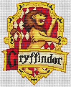 PDF Cross Stitch Pattern for the Gryffindor Crest - Harry Potter Hogwarts House Cross Stitch Chart Beaded Cross Stitch, Cross Stitch Charts, Cross Stitch Designs, Cross Stitch Embroidery, Embroidery Patterns, Cross Stitch Patterns, Cross Stitch Harry Potter, Harry Potter Crochet, Modele Pixel Art