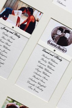 Our clients were really excited about having a luxury framed wedding table plan which featured 'romantic couples'  from their favourite Rom-Com movies.    Themed table plans can be based around your favourite movies, musicals, characters etc. (images are provided by our clients).  Available in a choice of fonts, details, colours, one or two layers of mount board, framed or unframed etc.  www.elegantws.co.uk