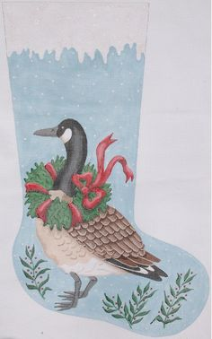 Kate Dickerson Needlepoint stocking ~ Canada goose w/ wreath