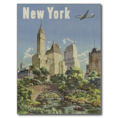 New York City Vintage Travel Poster (Central Park) Postcard