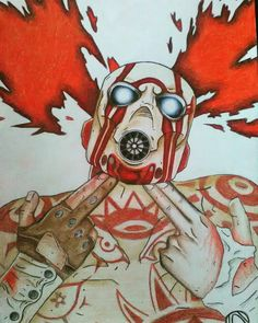 Some hella pencil art of the Borderlands 2 cover psycho!!