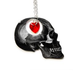 """Dark Thoughts Necklace with Crystal Heart - Halloween Jewelry -  Illustration Jewelry - Silver 18"""" Chain. $26.50, via Etsy."""