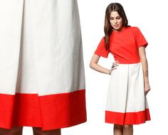 1960s Mod Dress COLOR BLOCK Space Age Pleated 60s by ShopExile, $47.00