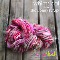 Handspun Yarn by Colorful Nest NEW COLORWAY SALE Funky Chunky and perfect as accent on newborn photo props, hats, scarves - Strawberry Syrup