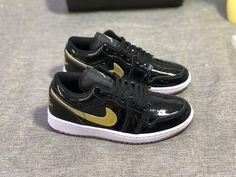 7943fabb6c3a Advanced Design Air Jordan 1 Low Gg Patent Leather Black Metallic Gold  White 554723 032 Men s Women s Basketball shoes 554723-032