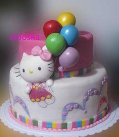 Hello Kitty with Balloons. Hello Kitty Theme Party, Hello Kitty Birthday, Cupcakes, Cupcake Cookies, Torta Hello Kitty, Super Torte, Gateaux Cake, Birthday Cake Girls, Girl Cakes
