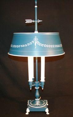 Vintage BLUE Tole Metal Paint Decorated Bouillette desk table lamp