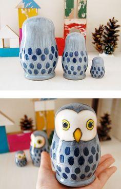 Owl Nesting Dolls - Grey -