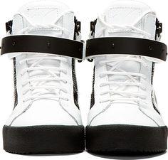 Giuseppe Zanotti White Matte Leather Birel Wedge Sneakers