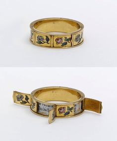 Gold ring, enamelled with sprigs. A small hinged lid around the circumference conceals amatory mottoes beginning 'JE T'AIME', France, 1830-60.