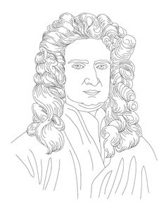 isaac newton face coloring page for kids
