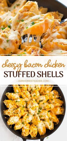 Cheesy Bacon Chicken Stuffed Shells are a winner! You can never go wrong with this easy recipe loaded cheese, bacon, and chicken in a homemade dry ranch seasoning. Enjoy a huge amount of flavor in every bite! Add this to your dinner menu ideas! Easy Dinner Recipes, Pasta Recipes, Easy Meals, Cooking Recipes, Easy Recipes With Chicken, Best Dinner Recipes Ever, Bacon Recipes For Dinner, Dessert Recipes, Cheesy Recipes