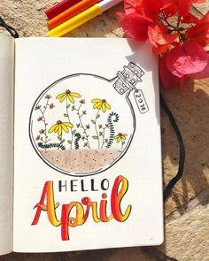 After a month's break, here's the April cover page ❤️ . Yes it's not perfect but what bullet journal is . . Inspiration from… Bullet Journal School, April Bullet Journal, Bullet Journal Headers, Bullet Journal Cover Page, Bullet Journal Notebook, Bullet Journal Themes, Bullet Journal Layout, Bullet Journal Doodles Ideas, Bullet Journals